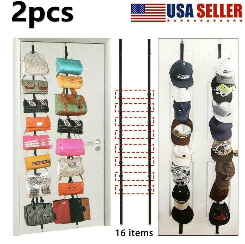 2pcs Cap Hat Handbag Holder Rack Storage Organizer Over the Door Hanger Holders