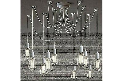 Lampadario 12 pendenti a sospensione regolabili bianco E27 lampada ragno vintage