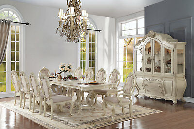 """Antique White Formal Dining Room 114"""" Double Pedestal Table & Chairs 5 Piece Set"""