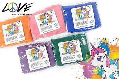Love Colors Einhornpulver MIX (5 Farben) - 5 x 75 gr Beutel Holi Pulver