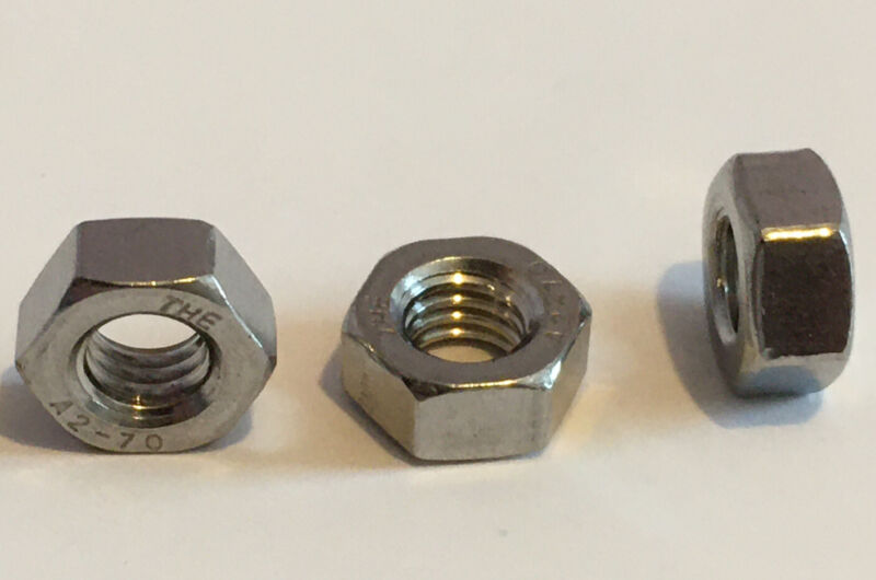 (100 pcs) M6-1.00 A2-70 Metric Stainless Steel Hex Nuts