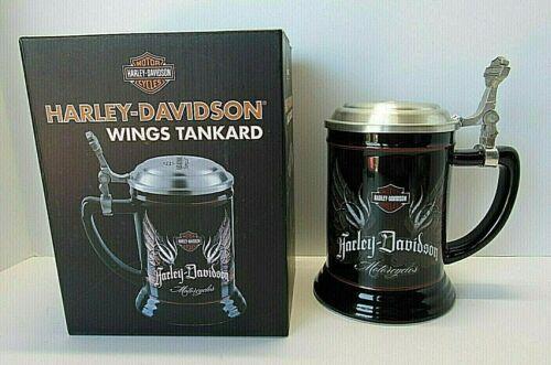 "HARLEY DAVIDSON 2012 WINGS TANKARD - New in Box - Pewter Lid - 6.5"" tall"