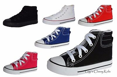 Girls Shoes (New Boys Girls Youth Canvas High Top Tennis Shoes Lace Up Skater Sneakers Kids)