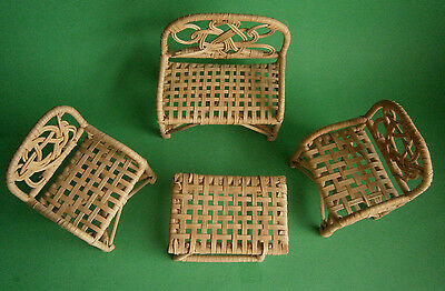 Wicker Rattan (4) Piece Set Doll - Doll House Patio Furniture - Nice