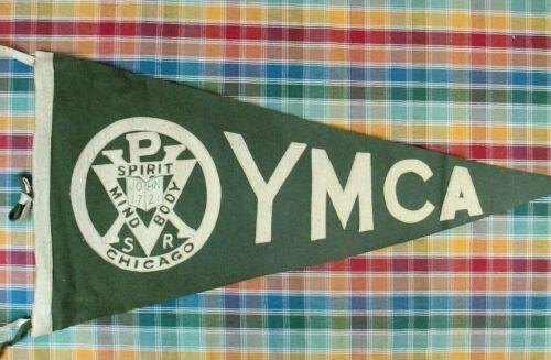 Vintage YMCA CHICAGO Sewn Wool Pennant - Circa 1920