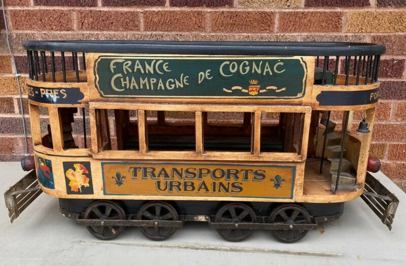 1950s French Double Decker Wooden Trolley Car