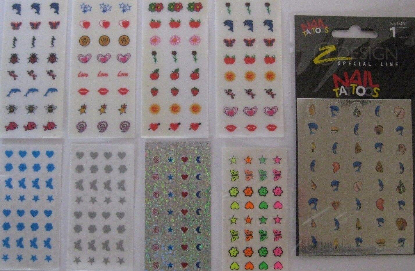 Nail Stickers Nagel Aufkleber Fingernägel Tattoo Glitzer Neon Tiere Blumen Stern