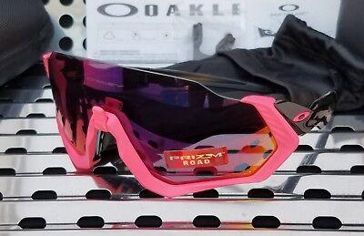 New Oakley FLIGHT JACKET 9401-0637 Sunglasses Mate Neon Pink-Black w/ Prizm Road