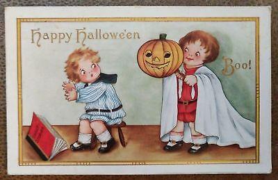 Antique Halloween Postcard~Children Reading Ghost Stories with JOL Pumpkin-b53