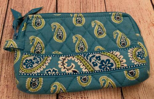 Vera Bradley Cosmetic Bag in Bermuda Blue - Make-up Case - Lined Interior, Green