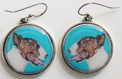 Bull Terrier Dog Original Art Earrings