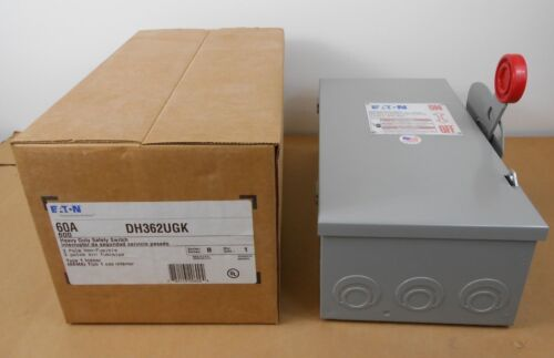 NIB EATON DH362UGK HD SAFETY SWITCH 60A 3P 600V 60 AMP NON-FUSED (20+ AVAILABLE)