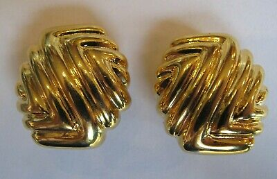 VINTAGE GORGEOUS GOLD TONE PAOLO Gucci large CLIP ON Earrings