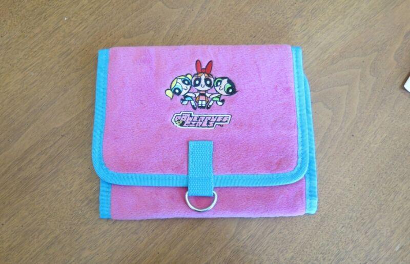 Power Puff Girls Vintage Pink Blue Organizer Clutch Bag with Mirror Folds Fuzzy