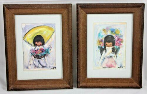"""Vtg DeGrazia Prints Flower Girl/Boy Wood Framed 8.5"""" X 6.5"""""""