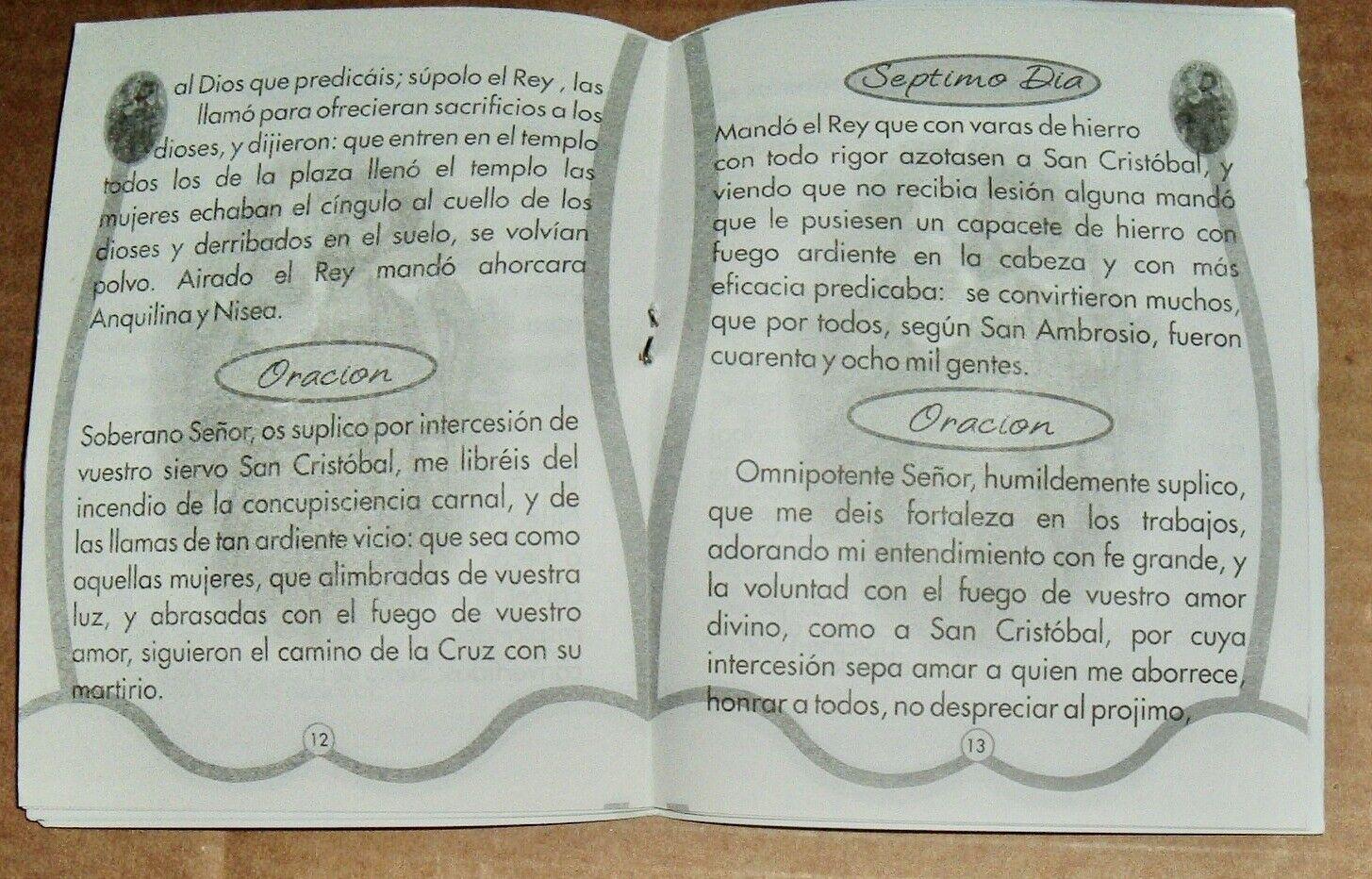 3--SPANISH NOVENA SAN CRISTOBAL PAMPHLETS 23 Pages ESPIRITUAL CHRISTOPHER - $8.50