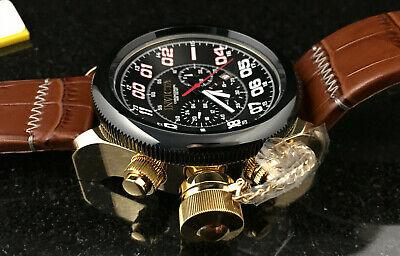 Invicta 54mm Russian Diver Lefty Quartz Chronograph Leather Strap Watch 22291