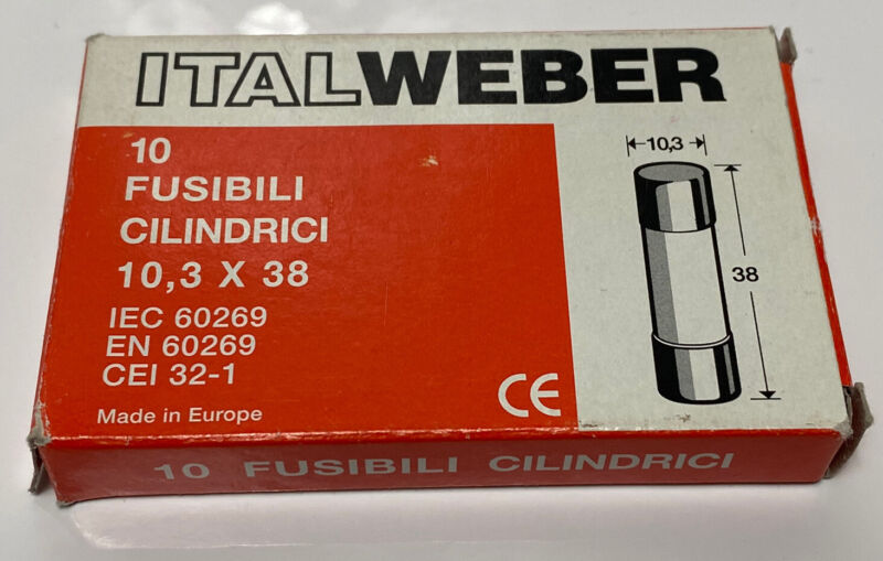 ItalWeber FUSE Cod Iw 1421025 25a 500 V~ Fusibili Cilindrici X 1 ,10,3 X 38 Ch10