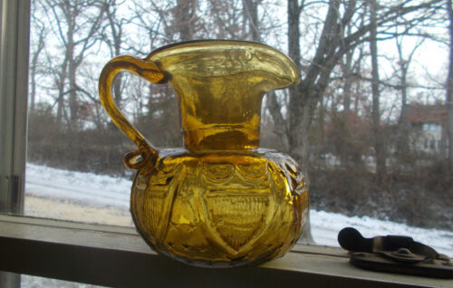 CLEVENGER BROS AMBER STAR & SHIELD PITCHER CRUDE HAND BLOWN PONTILED 1960