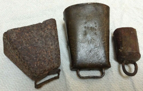 Vintage Cow Bell 3 Piece Lot - 1 Brass With Great Patina - 2 Rustic / Rusty