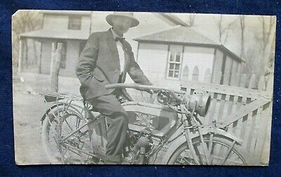 ca1920 Snapshot Photo Excelsior Motorcycle & Rider