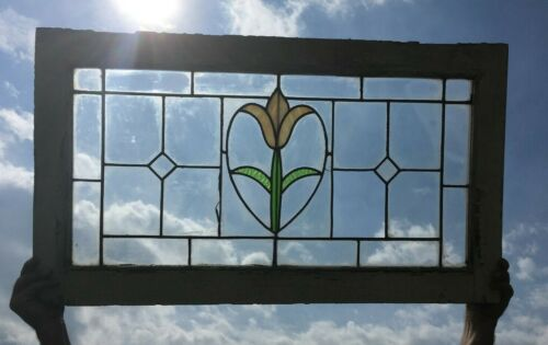 Antique Leaded Stained Glass Window Tulip Victorian Old Cottage Vtg Chic 396-18P