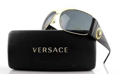 NEW Genuine VERSACE Vanitas Medallion Black Gold Grey Sunglasses VE 2163 100287