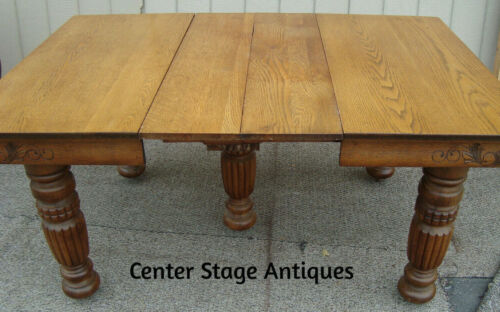 61158 Antique Victorian Oak Dining Table w/ 2 leaves RARE CARVED SKIRT