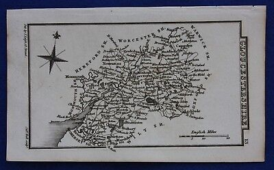 Original antique miniature county map GLOUCESTERSHIRE, Samuel Leigh, 1820-31