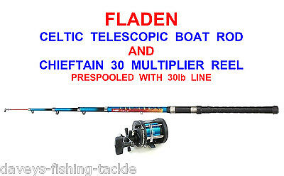 FLADEN CELTIC TELESCOPIC BOAT ROD+CHIEFTAIN 30 MULTIPLIER REEL+LINE SEA FISHING