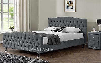 Velvet Linen Chesterfield  Fabric Bed Frame Double King Size Bed