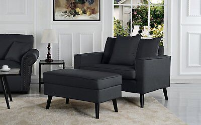 Mid-Century Modern Living Room Large Accent Chair with Footrest / Storage...