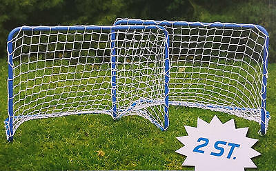 2 x Fußballtor mit Netz Fußball Hockey Tor Metall steckbar 78x56x45 cm