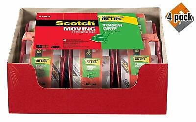 Scotch Tough Grip Moving Packing Tape 1.88 x 22.2 Yd - Clear Box of 6- Pack of 4