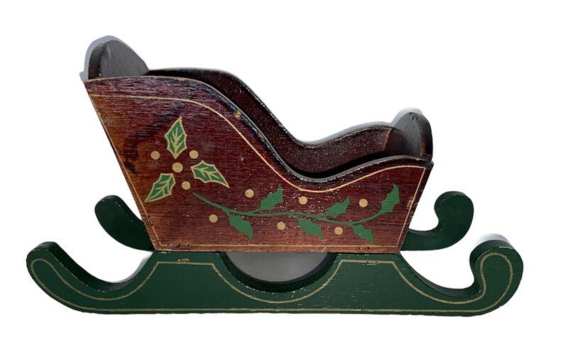 """Vintage Wood Brown Green Christmas Handpainted Santa Sleigh Display Decor 9"""""""