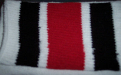 1 Pair White tube socks with Black and Red Stripes-Approx. 25-26