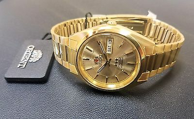 Orient Classic Dress Watch Automatic Gold Tone Gold Sunray Dial FREE US SHIP