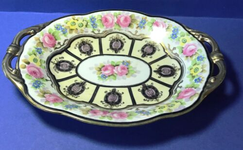 Morimura Hand Painted Nippon Gold trimmed roses Twin handles serving platter