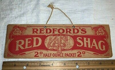 ANTIQUE 1914 REDFORD'S RED SHAG CARDBOARD TOBACCO SIGN VINTAGE COUNTRY STORE OLD
