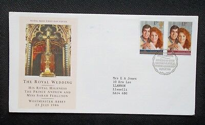 1986      FIRST DAY COVER.     ROYAL WEDDING.     (TYPE WRITTEN ADDRESS)