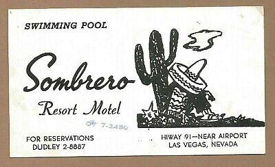 Vintage Original 1950 Sombrero Resort Motel Las Vegas Nevada Business Card