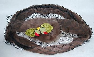 VINTAGE BROWN RABBIT FUR BIRDCAGE VEIL HEADPIECE HAT
