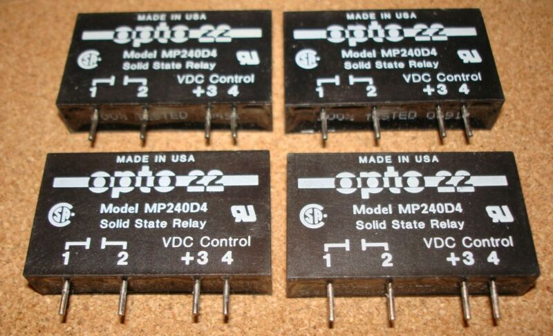 QTY 4 / OPTO22 Solid State Relay SSR MP240D4, PC Mount, Plug-in, Used, Tested