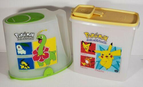 Tupperware Pokemon Cereal Keeper Canister Meganium Bayleef Pikachu set of 2