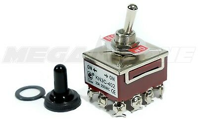 Toggle Switch Heavy Duty 20a125v 4pdt On-on Wwaterproof Boot... Usa Seller