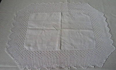 Antique / Vintage Hand Made Crochet Fine Knit Lace Edged Tray Cloth