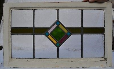Frame 708 x 423mm art deco leaded stained light glass window sash. R711