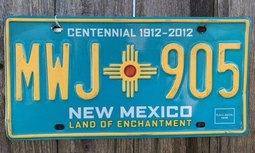 2012 NEW MEXICO CENTENNIAL LICENSE PLATE #MWJ905