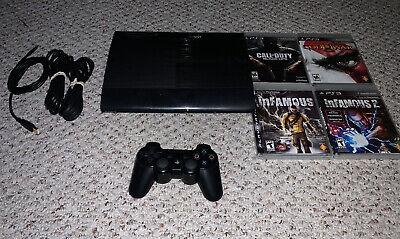 Sony PlayStation 3 Super Slim CECH-4201B 250GB Console Lot & Games Bundle