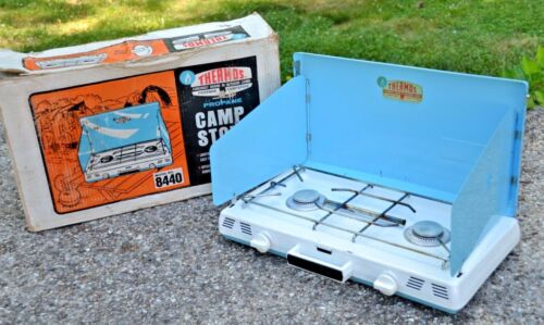 Lovely Turquoise White Thermos Camp Stove In Box Vintage Camper Decor!